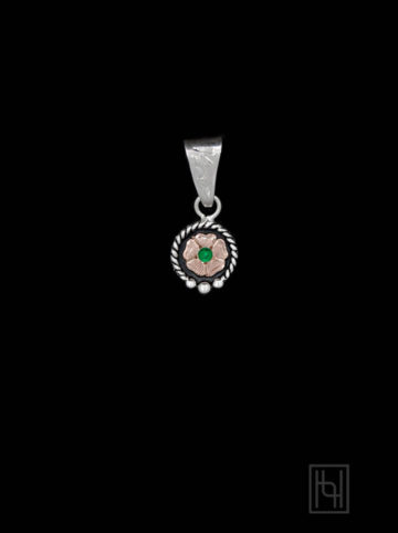 Engraved Flower Pendant w/ Peridot Green