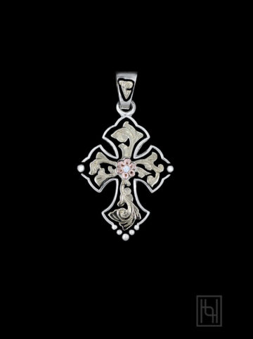 Budded Cross Pendant w/ Crystal Clear Stone
