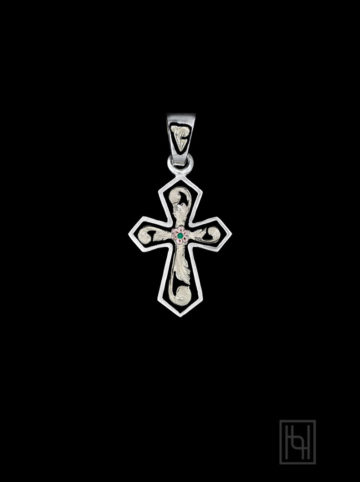 Angular Cross Pendant w/ Emerald Green