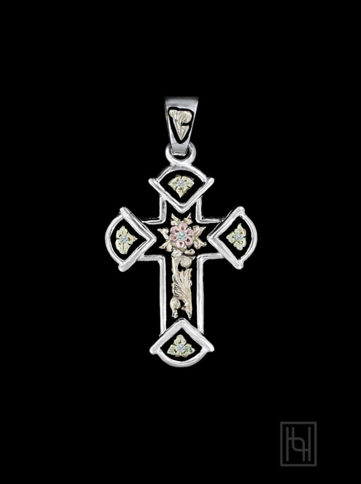 Antique Cross Pendant w/ Crystal Clear