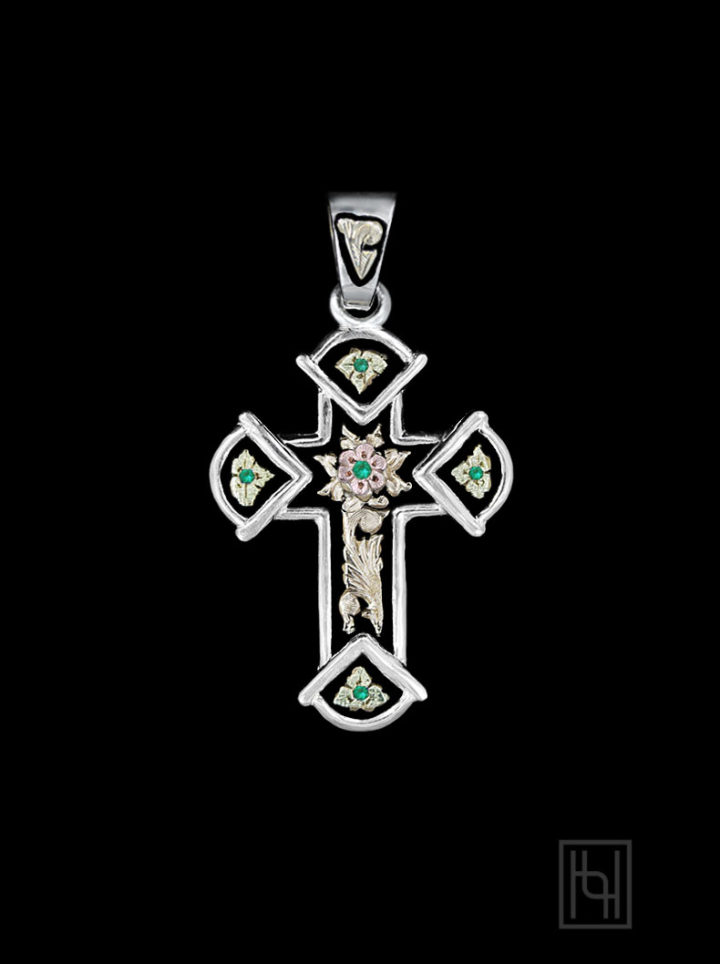 Antique Cross Pendant w/ Emerald Green