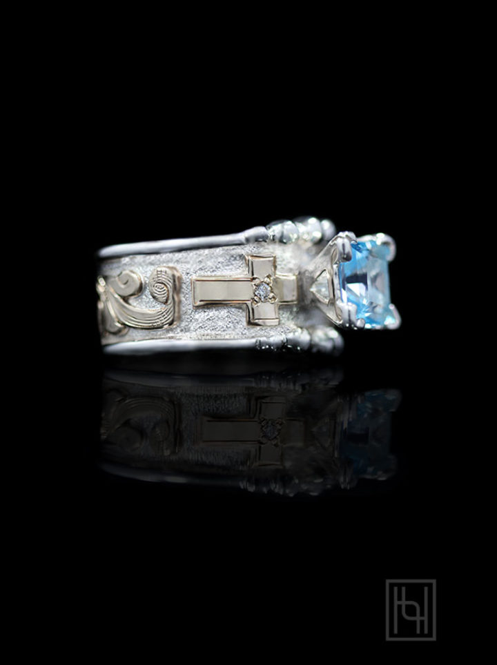 Aquamarine Cross Ring