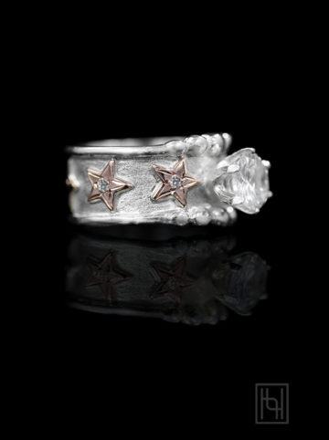 Solitaire Star Ring with Crystal Clear Accents