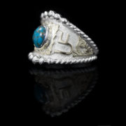 Custom RimRock & Rope Ring BSR028ARR- YG & SVR, Blue Turquoise w/ Copper Matrix