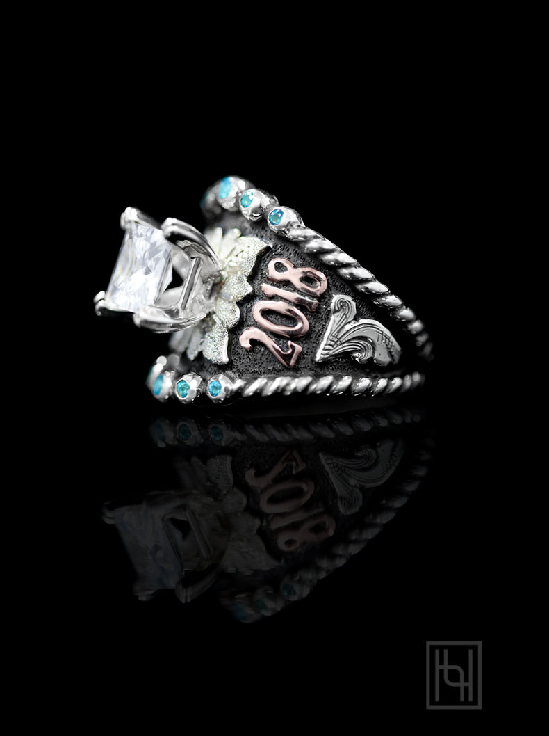 BSR028SB-7 mm CC Square, Blue Topaz Accents, Silver Scrolls & Oxidized, Rose Gold Lettering
