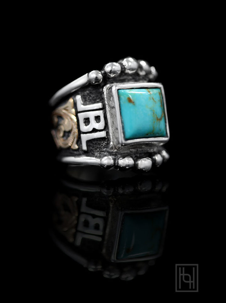 BSRRR005- 10 mm Square Blue Turquoise YG Scrolls & Oxidized