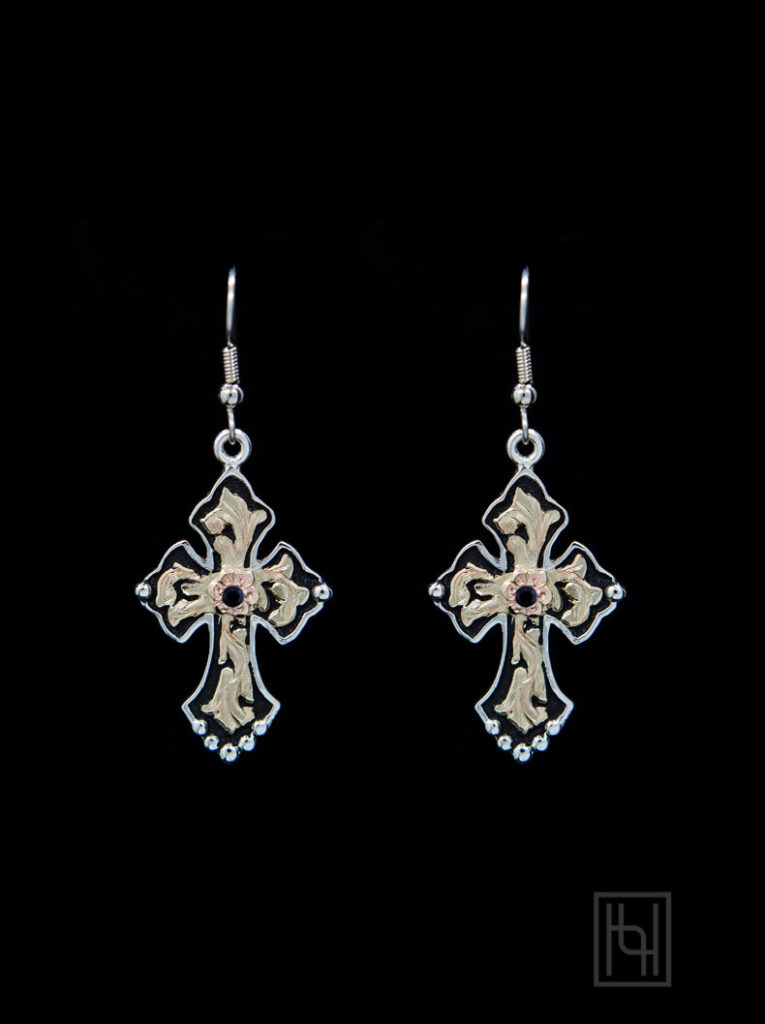 Budded Cross Earrings w/ Crystal Clear