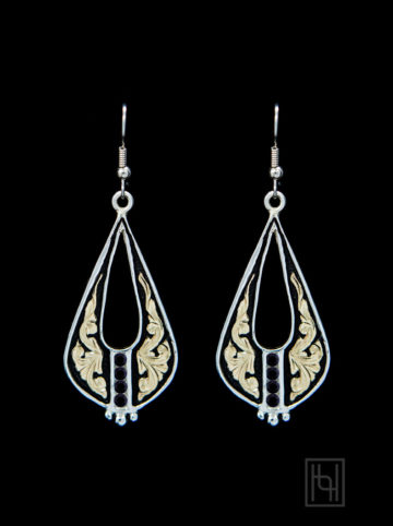 Decorative Teardrop Hook Earrings w/ Crystal Clear