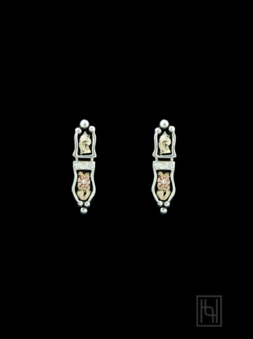 Elegant Hinged Floral Earrings w/ Crystal Clear