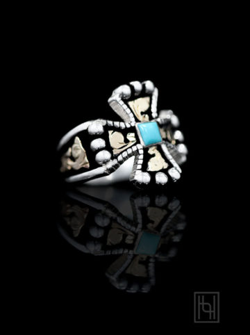 RimRock Chopper Cross & Blue Turquoise Ring