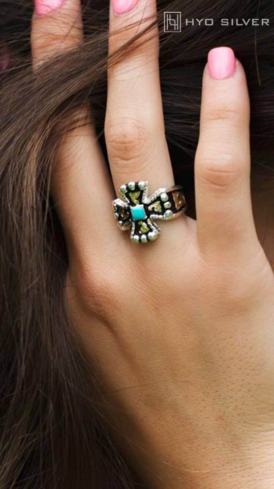 RimRock & Chopper Cross Blue Turquoise Ring RRR007-BT