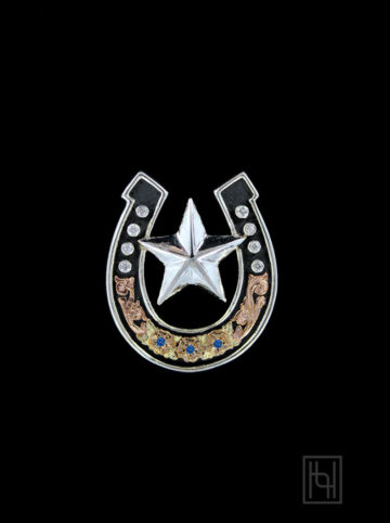 Horseshoe and Lone Star Slider Pendant w/ Crystal Clear
