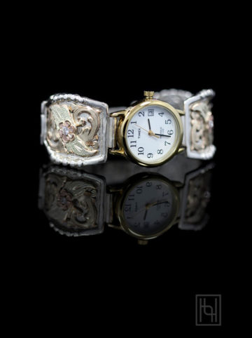 Ladies Decorated Watch Band - White/Gold Rim Face w/ Crystal Clear - Silver