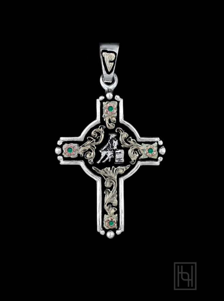 Barrel Racer Rodeo Event Cross w/ Emerald Green