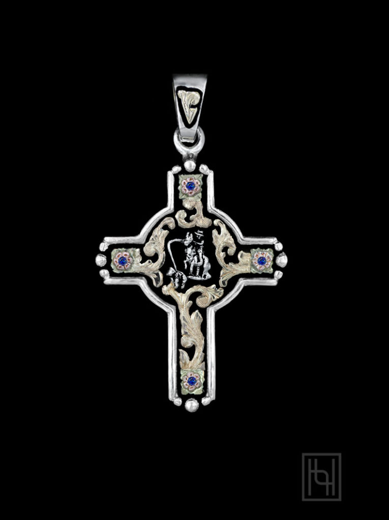 Calf Roper Rodeo Event Cross with Sapphire Blue