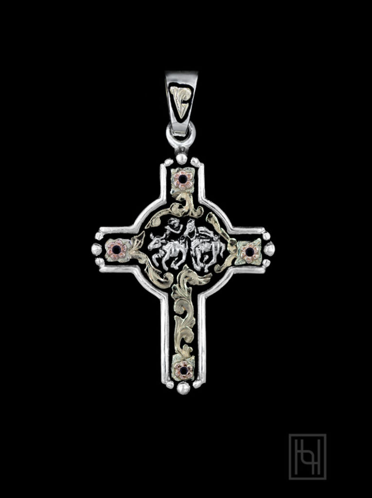 Steer Wrestler Rodeo Event Cross with Blackest Black