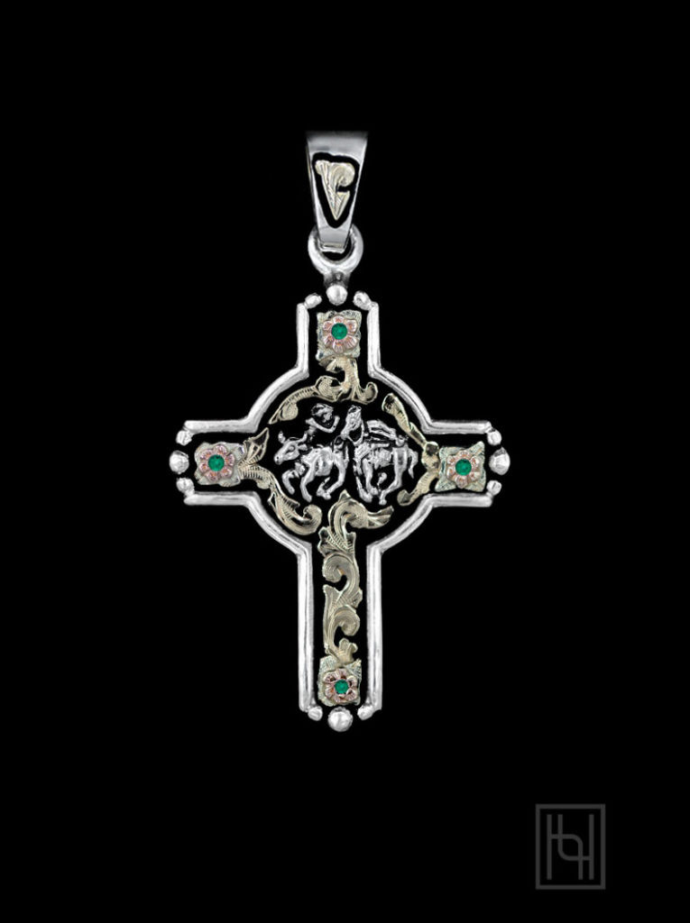 Steer Wrestler Rodeo Event Cross with Emerald Green