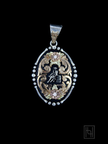Barrel Racer Rodeo Medallion w/ Crystal Clear
