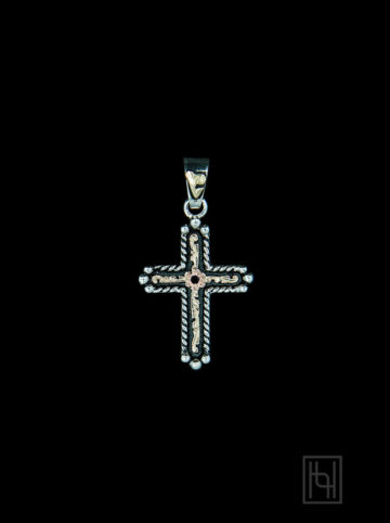 Lariat Small Cross Pendant w/ Ruby Red