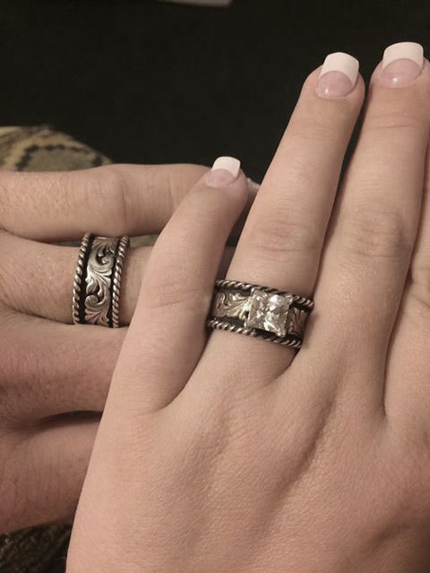 western silver rope ring matching set r058 r059 customer pic - Western Wedding Rings