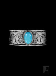 Sterling Silver Rope & Turquoise Cuff Bracelet