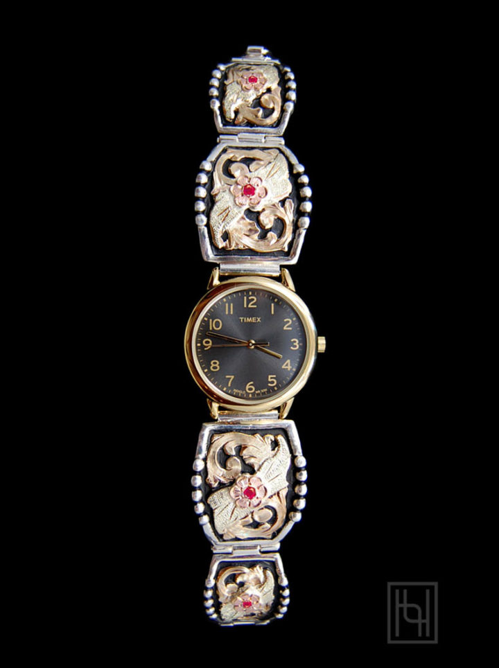 Ladies Decorated Watch Band - Black/Gold Rim Face w/ Ruby Red